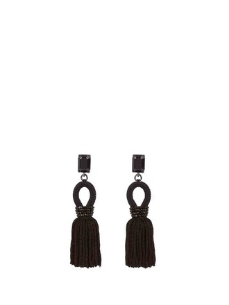 short tassel embellished earrings silk black jewels