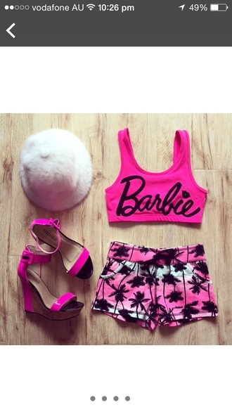 shorts pink ombre palm tree print cute short shorts sexy short shorts hair accessory shoes