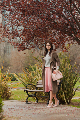 the bow-tie blogger coat sweater skirt bag jewels shoes