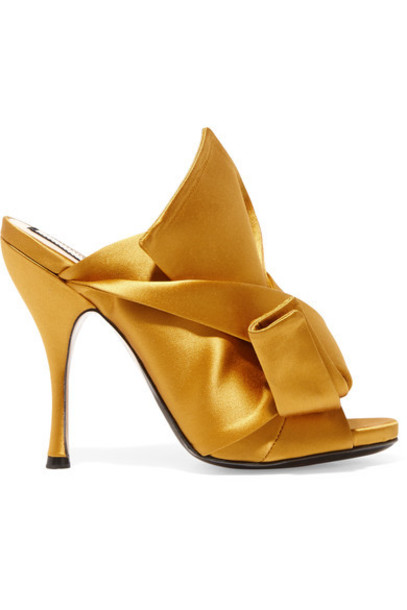 No. 21 - Knotted Satin Mules - Mustard