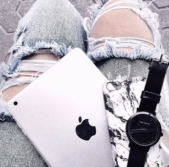 phone cover black white watch grunge grey monochrome jeans marble apple