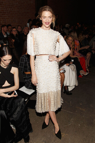 skirt top fashion week 2016 jaime king pumps beaded ny fashion week 2016