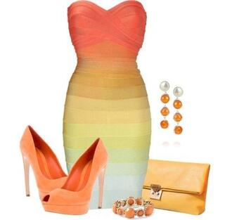dress sunrise bandage sunrise bandage dress sexy miami california orange yellow strapless cute hot hott birthday favorite mini dress mini dime line clothing fashion style