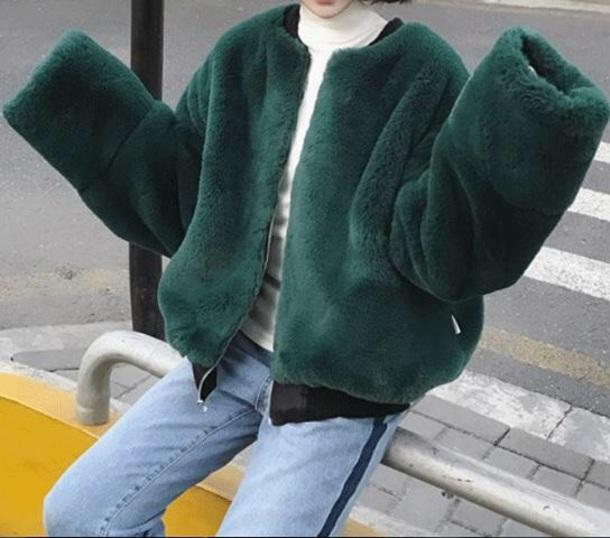 coat girly green fur fur coat fur jacket faux fur faux fur jacket