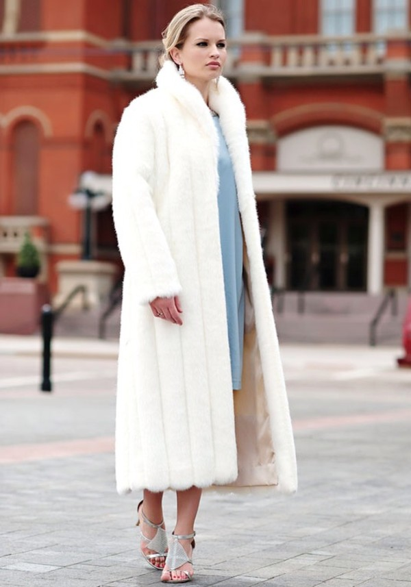 Luxury Designer Handmade Faux Fur Floor Length Coat w/ Hood