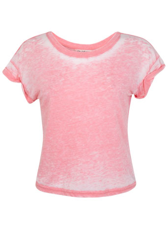Pink Acid Wash Crop Tee - View All - Sale & Offers - Miss Selfridge