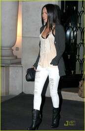jeans,megan fox,ripped jeans,cardigan,grey,white