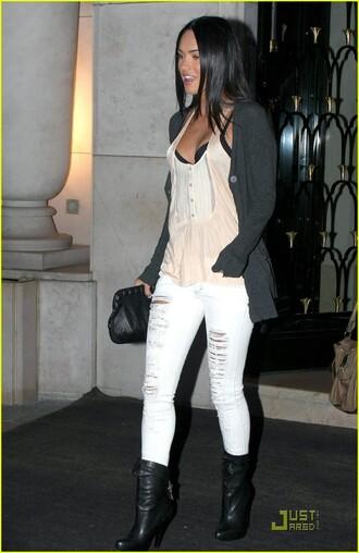 jeans megan fox ripped jeans cardigan grey white
