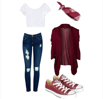 jeans red cardigan red headbanda plain white t shirt ripped skinny jeans red and white star converse jacket