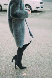 coat,tumblr,fur coat,big fur coat,blue coat,boots,black boots,high heels boots,dress,white dress,midi dress,blue fluffy coat