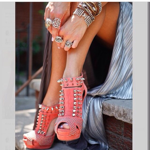 coral shoes high heels open toes spiked shoes