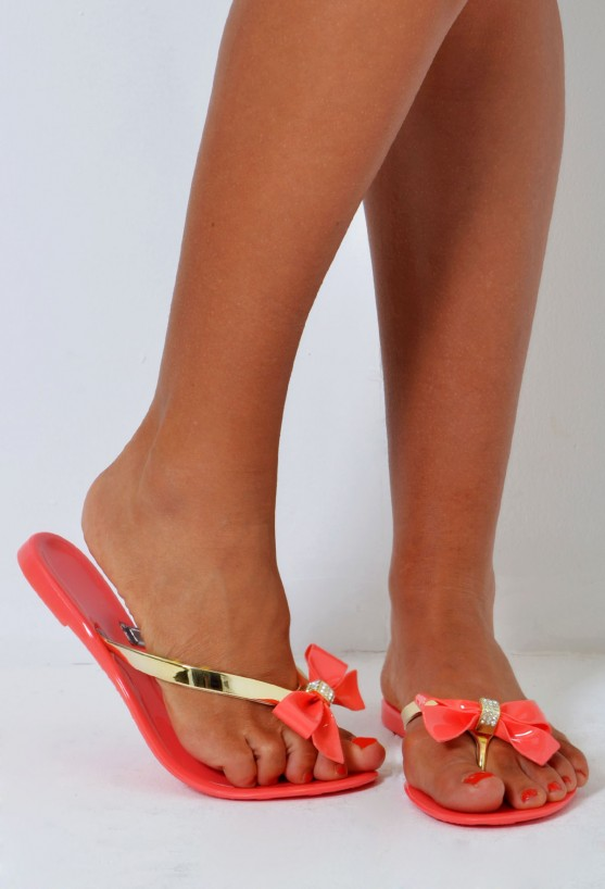 f5c57e9b8 Catalina Coral and Gold Bow Flip Flops