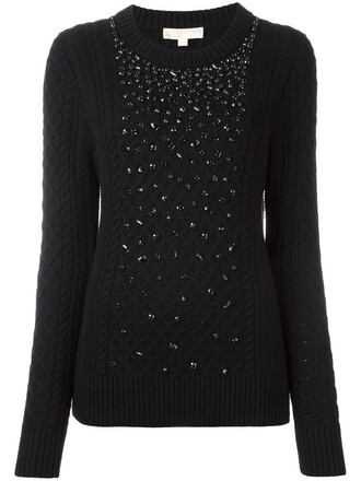 jumper women embellished black wool sweater