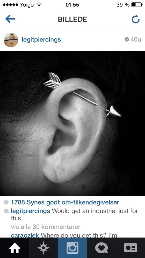 jewels piercing industrial earrings arrow earring
