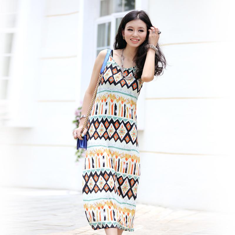 Fashion slim bohemia print vest one-piece dress beach dress full | Amazing Shoes UK