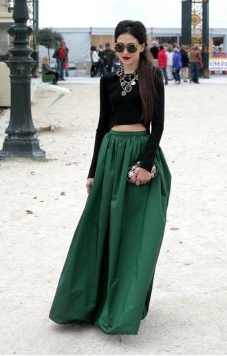 skirt maxi skirt green skirt classy shirt jewels forest green statement necklace