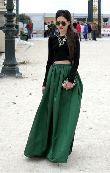 skirt shirt long skirt green skirt elegant jewels