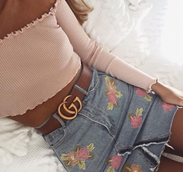 shirt pink denim skirt floral cute summer