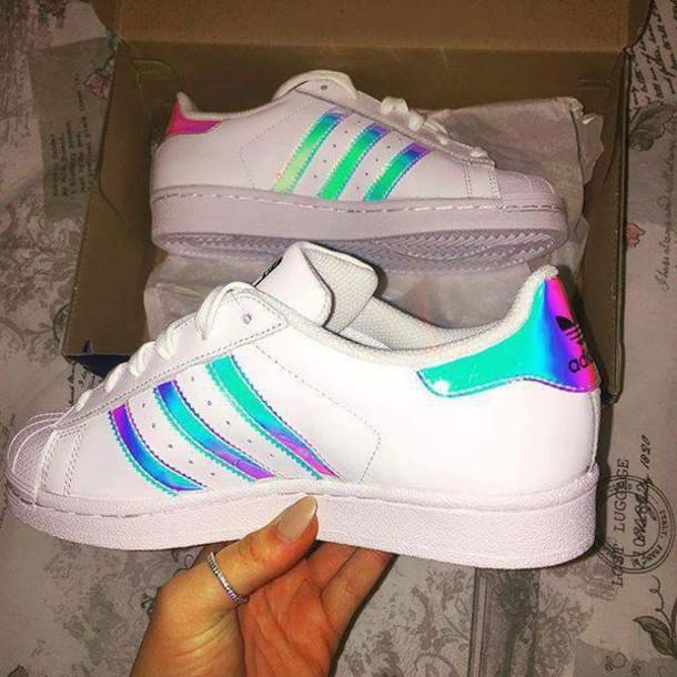 Shoes: adidas superstars, adidas shoes, white, hologram ...
