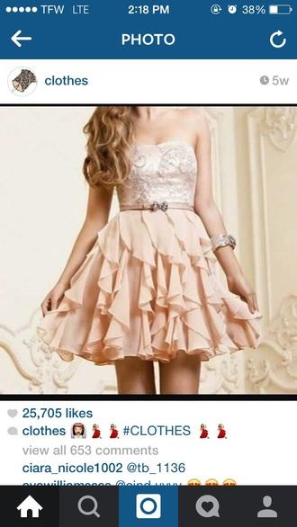 dress ruffled beaded studded bowed belt l t peach dress