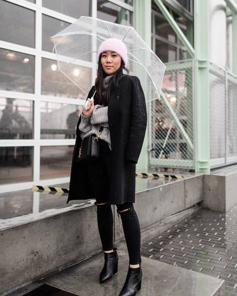 coat tumblr black coat winter outfits beanie pink beanie umbrella sweater grey sweater denim jeans black jeans ripped jeans boots black boots ankle boots