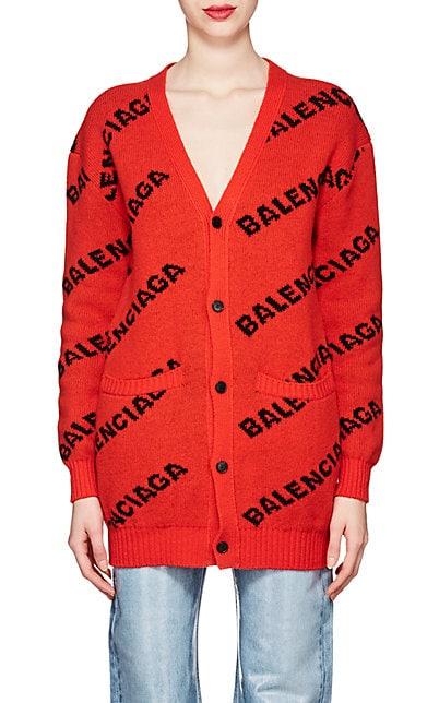Balenciaga Logo Virgin Wool Cardigan | Barneys New York