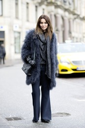 by funda,blogger,pants,fluffy,fuzzy coat,charcoal,gloves,winter outfits,sweater,bag,shoes