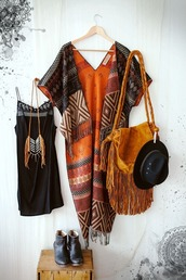 cardigan,boho,pattern,shawl,poncho,orange,fringed bag,native american,aztec,hat,leather,hippie,jewels,bag,tribal pattern,tribal cardigan,aztec sweater,boho dress,boho chic,kimono,black dress,little black dress,shift dress,dress,outfit,coat,ethnic,navajo,indian,gypsy,clothes,fringes,bohemian,tan,bags and purses,lace,black,festival,summer,brown