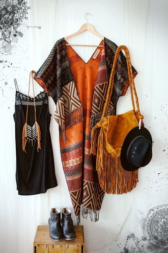 cardigan boho pattern shawl poncho orange fringed bag native american aztec hat leather hippie jewels bag