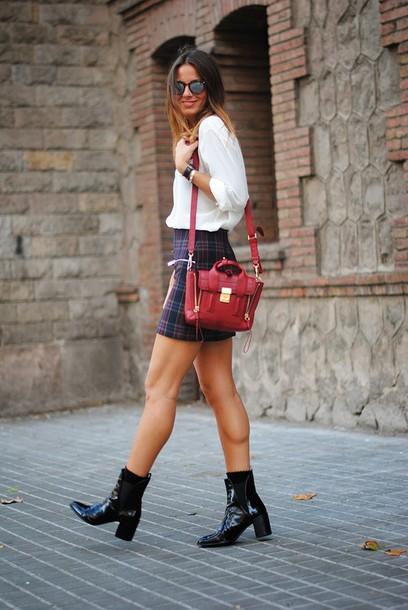 fashion vibe bag skirt shirt sunglasses shoes