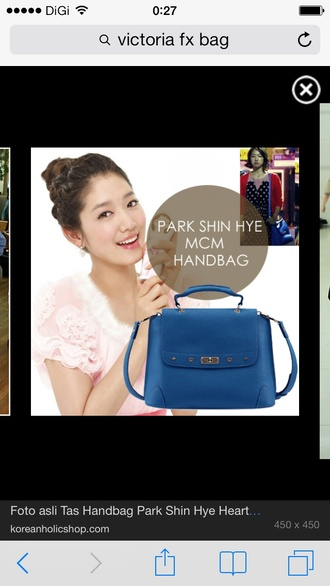 bag park shin hye blue bag blue bag mcm