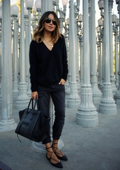 sincerely jules,blogger,all black everything,black sweater,flats,black bag,shoes,sweater,jeans