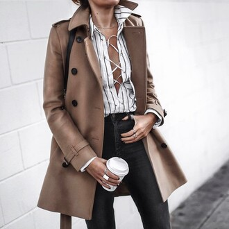 coat tumblr camel camel coat shirt stripes striped shirt lace up lace up top denim jeans black jeans ring silver ring necklace jewels jewelry coffee work outfits spring outfits office outfits french girl style