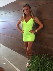 dress,neon dress,short dress,bright yellow dress,girly,fashion