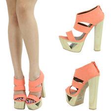 Orange Open Toe Chunky Thick High Heel Platform Stiletto Sandal ...