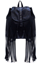 bag,minty jungle,black laeather,black leather,leather,faux leather,vegan leather,backpack,fringes