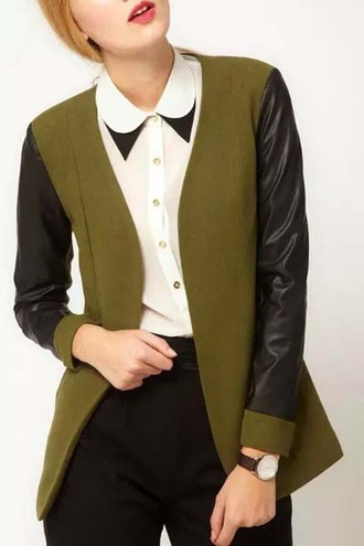 jacket green black casual fashion style faux leather blazer cardigan colorblock