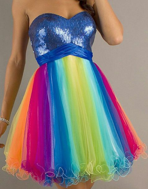 dress rainbow rainbow dress formal dress prom dress homecoming dress sexy dress