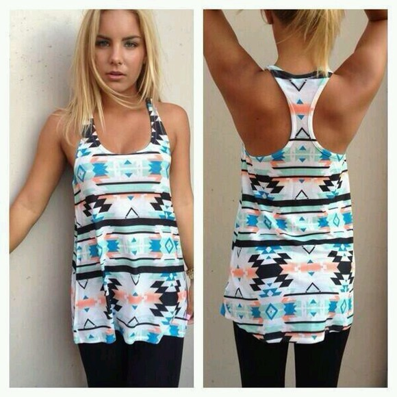 aztec tribal pattern shirt tanktop