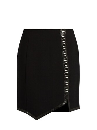 skirt mini skirt mini leather wool black