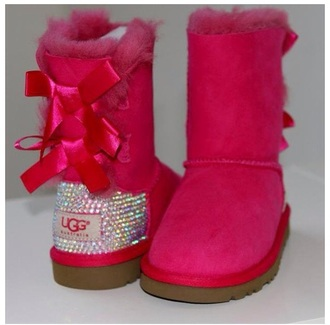 shoes uggs bailey bows pink shoes ugg boots sparkle