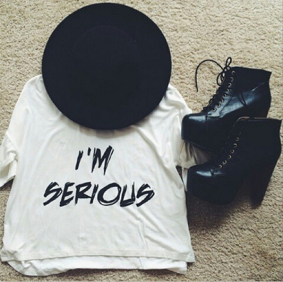 shoes ankle boots black boots blackshoes leathershoes heels shoes high heels lace up quote on it i'm serious hipster casual hat black heels with ankle strap