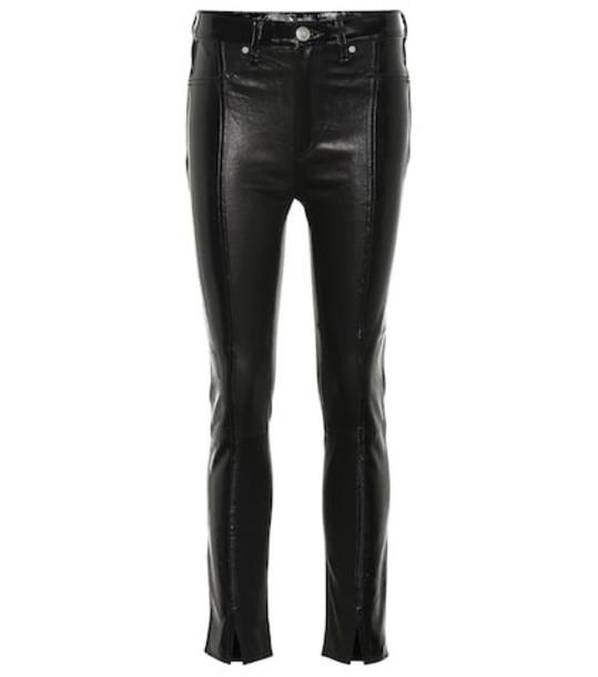 Rag & Bone Evelyn high-rise leather slim jeans in black