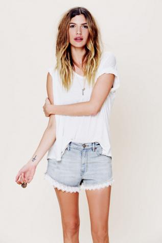 free people womens lacey denim cutoff shorts