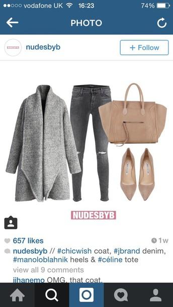 coat grey woolen collar