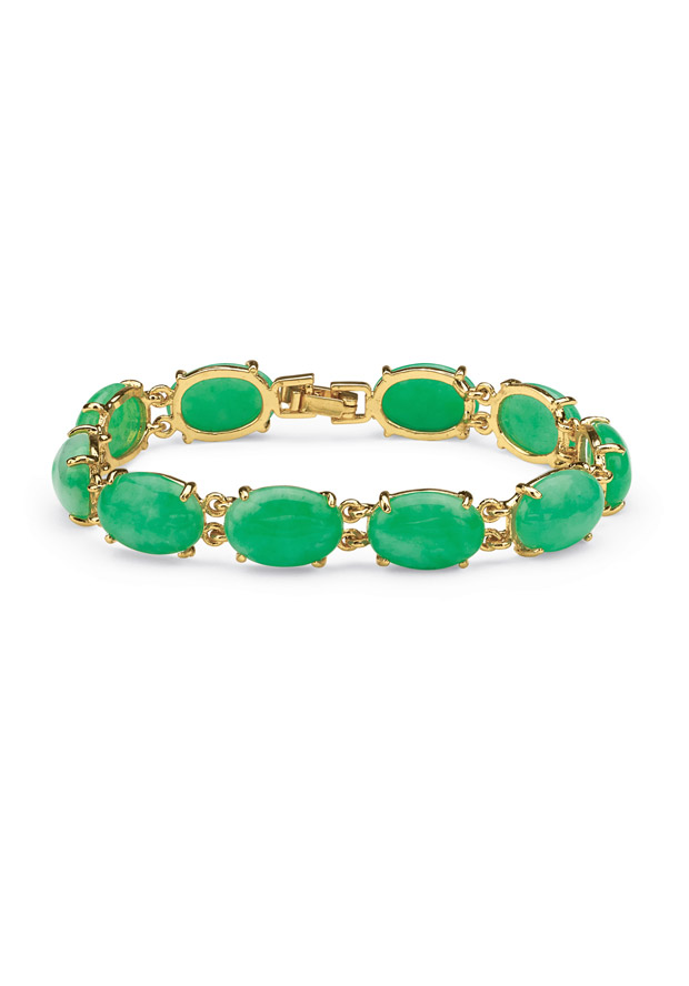 PalmBeach Jewelry 53934 Jewelry,Jade Cabochon Bracelet in Yellow Gold Tone, Fashion Jewelry PalmBeach Jewelry Bracelets Jewelry
