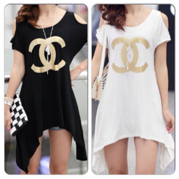 t-shirt dress chanel inspired summer dress dress blouse