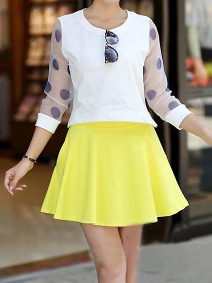skirt yellow ruffle fashion cotton blends top