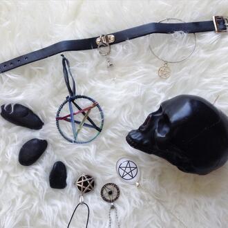 jewels choker necklace witchcraft pentagram skull black goth pastel goth punk dark