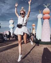 dress,tumblr,white dress,mini dress,fanny pack,belt bag,sneakers,white sneakers,all white everything,coachella,coachella outfit,sunglasses